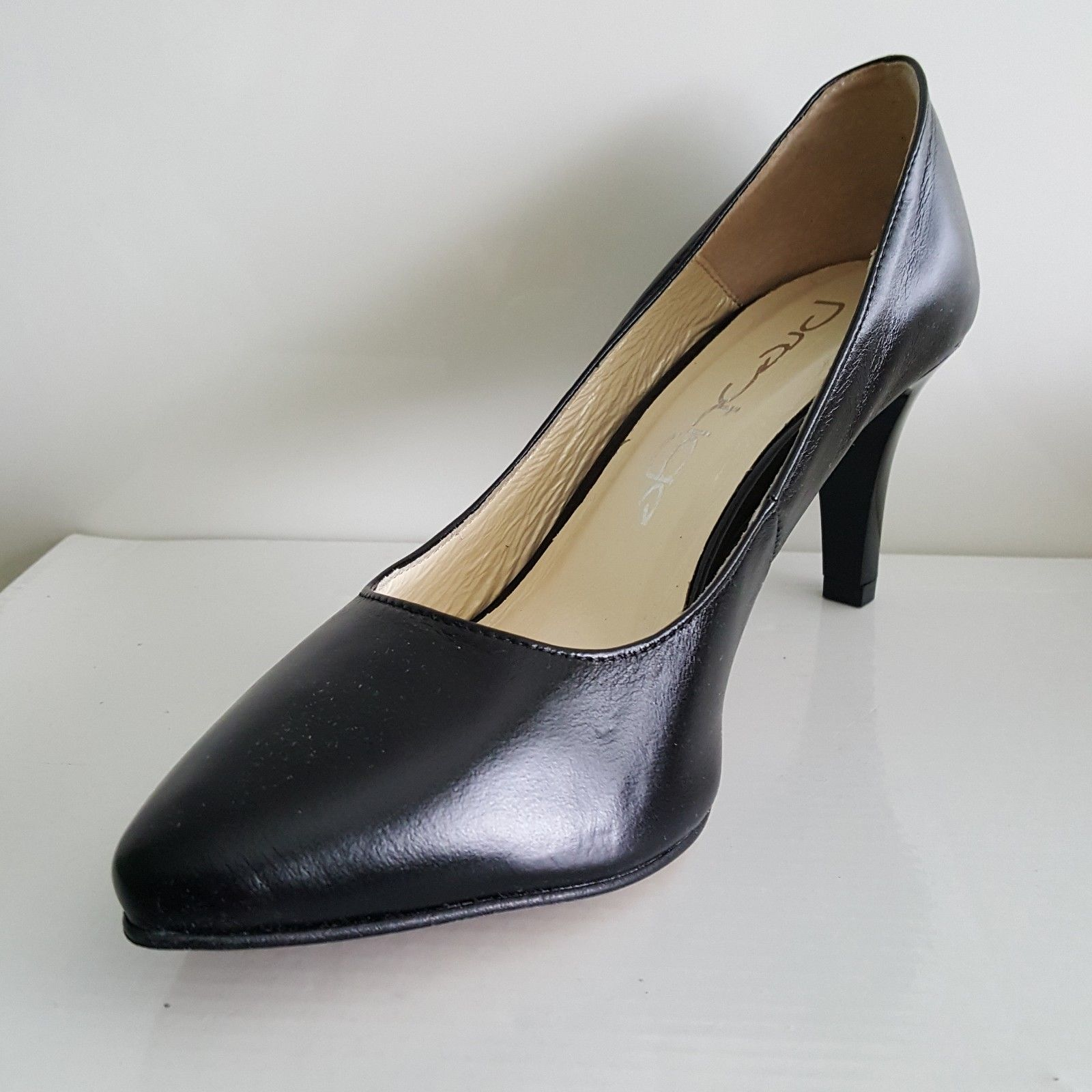 Brand New Boxed Ladies Black Suede High Wedge Heel Court Shoes Size UK 4 EU 37